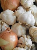 Garlic and onions background. — Stock Photo