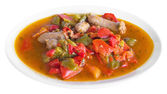 Sausages and peppers. — Stock Photo