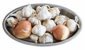 Garlic and Onions on silver tray. — Stock Photo