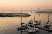 Touristic port of Giovinazzo at sunset. — Stock Photo
