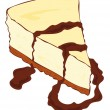 Cheesecake slice with melted chocolate. - Stock Vector