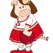 Cheerleader Pig. — Stock Vector