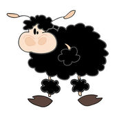 Funny black sheep. — Stock Vector