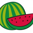 Watermelon and slice. — Stock Vector