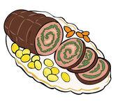 Matambre de carne con patatas y zanahorias. — Vector de stock