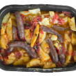 Stock Photo: Sausages and potatoes.