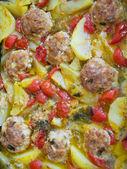 Closeup of meatballs and potatoes. — Stock Photo