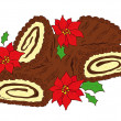Chocolate Yule log. — Stock Vector