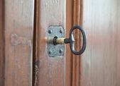 Keyhole on allwood door. — Stock Photo