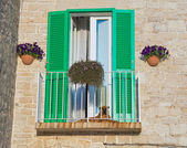 Balcony with green shutter. — Stock Photo