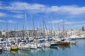 Yachts moored in Trani touristic port. Apulia. — Stock Photo