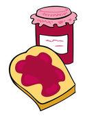Obst-marmeladenglas mit knusprigen toastbrot. — Stockvektor