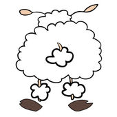 Funny white sheep back turned. — Stock Vector