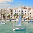 Trani touristic port with sailing boat. Apulia. — Stock Photo