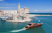 Port with Cathedral and luxury yacht. Trani. Apulia. — Stock Photo