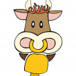 Dairy cow with cowbell. — Stock Vector