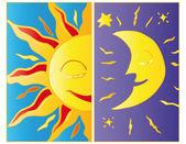Moonlight and sunlight. — Stock Vector