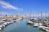 Panoramic view of Trani touristic port. Apulia. — Stock Photo