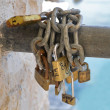 Padlocks symbolizing a vow for everlasting love. — Stock Photo