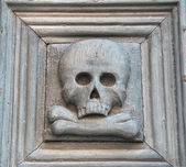 Portal with skull. Purgatory Church. Matera. Basilicata. — Foto de Stock