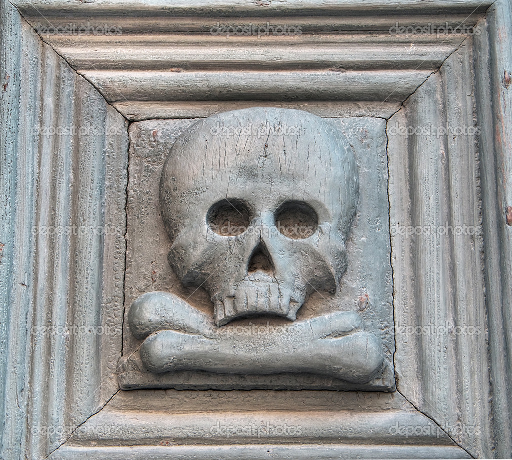 Portal with skull. Purgatory Church. Matera. Basilicata. — Stock Photo #3535641