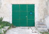 Wooden green door. — Stock Photo