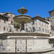 Lion fountain. Assisi. Umbria. - Stock Photo