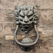 Doorknocker on allwood door. — Stock Photo
