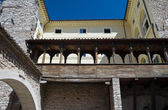 Wooden lodge. Urbani Palace. Spello. Umbria. — Stock Photo
