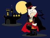 Dracula Pig. — Stock Vector