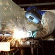 Labourer arc welding — Stock Photo #3017025