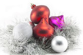 Christmas decorations and tinsel — Стоковое фото