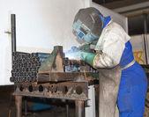 Factory Worker Welding (Landscape) — Stock Photo
