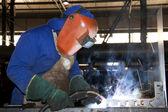 Factory Worker Welding — Stock Photo