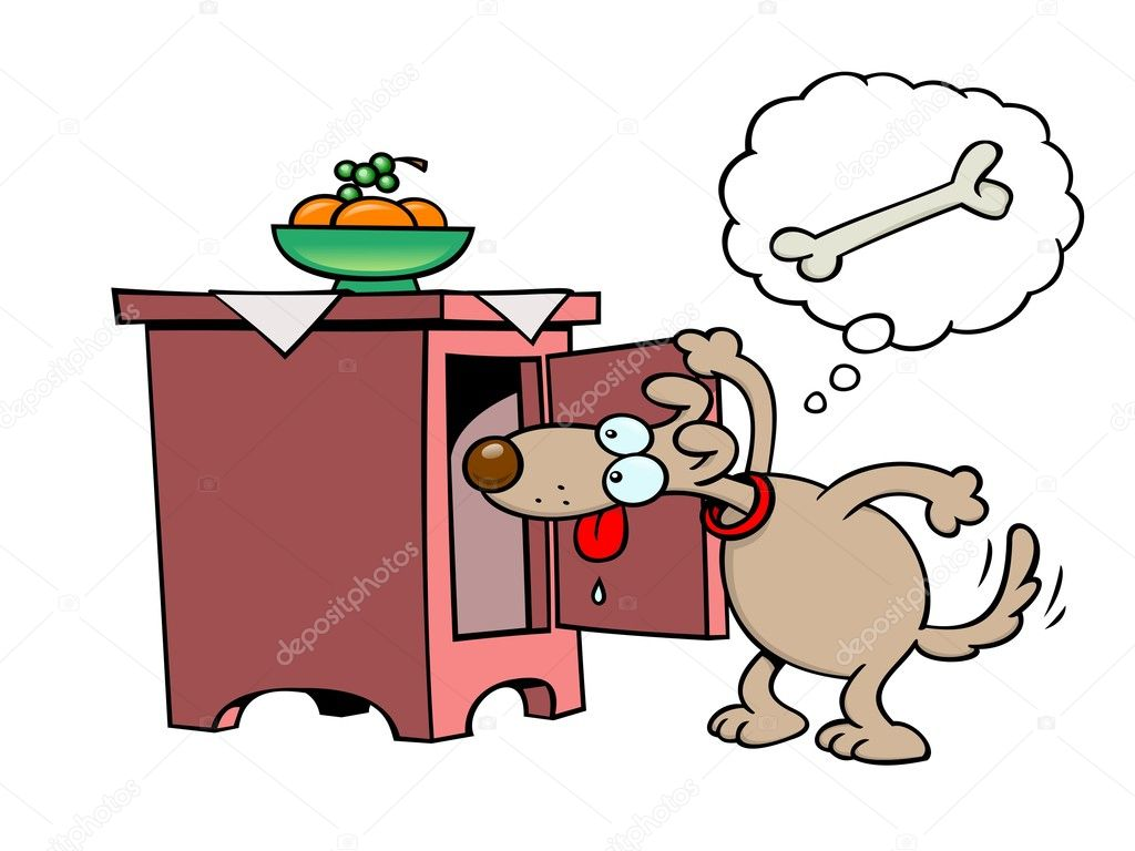 A snooping toon dog looking for bones in a cupboard — Stock Vector #2977060