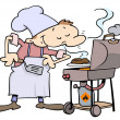 Royalty-Free Stock Imagen vectorial: Chef grilling burgers