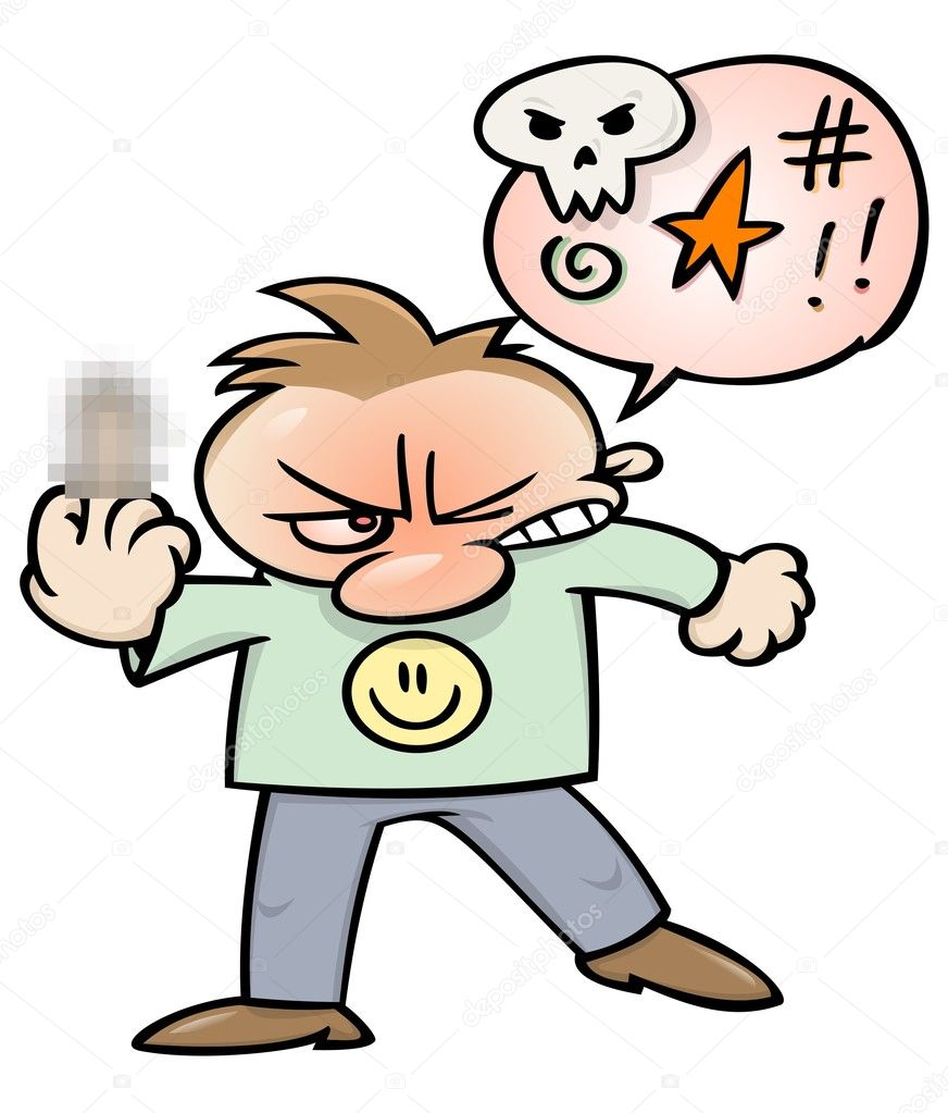 An angry cartoon character, swearing and flipping the bird. Middle finger blurred for sensitive viewers, The blur can be removed from the EPS file. — Stock Vector #3063859