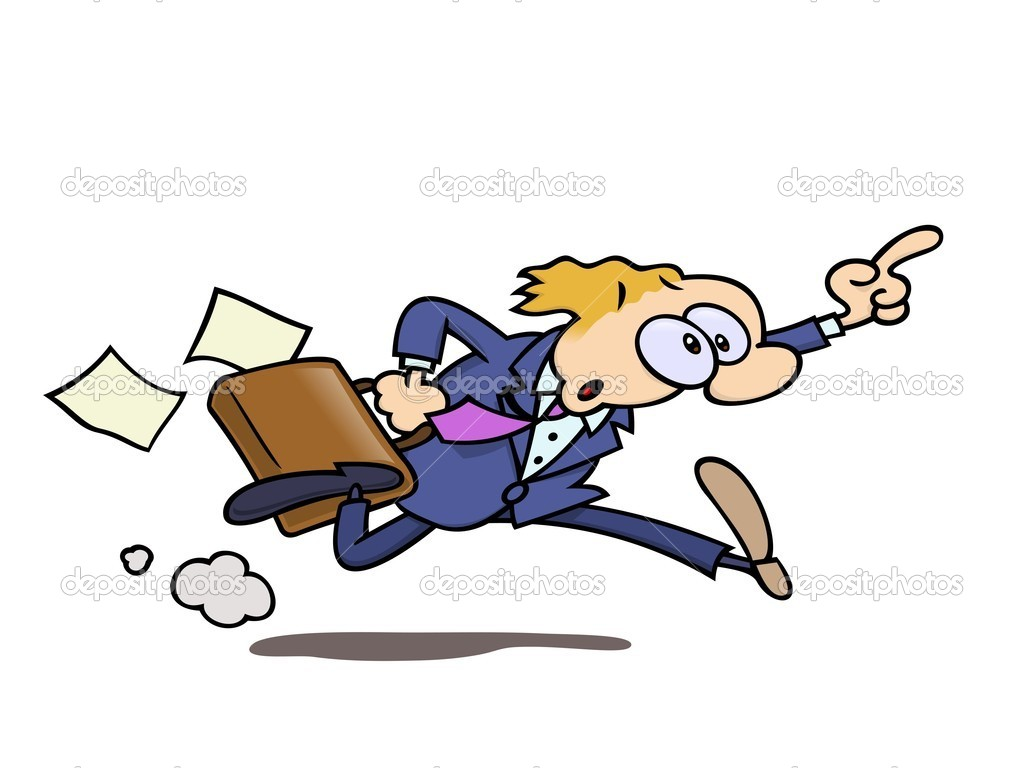 A stressed businessman with a briefcase, running in full speed, pointing in the air, perhaps trying to get a taxi — Stock Vector #3063862