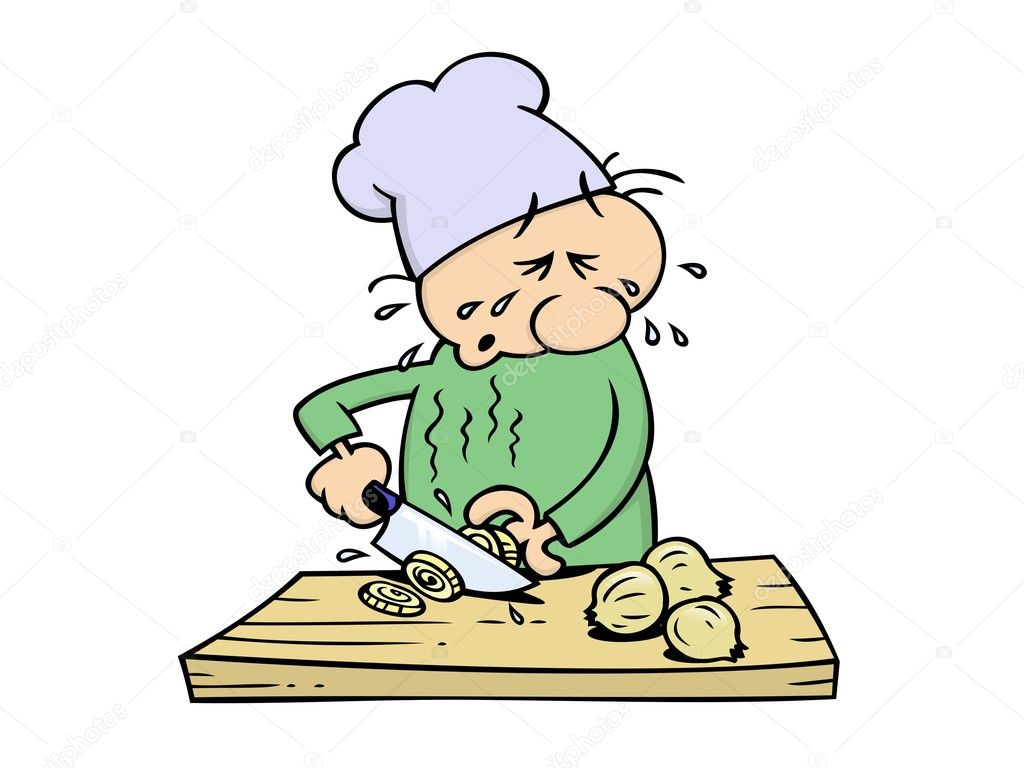 A crying toon chef slicing onions with a big kitchen knife — Stock vektor #3063865