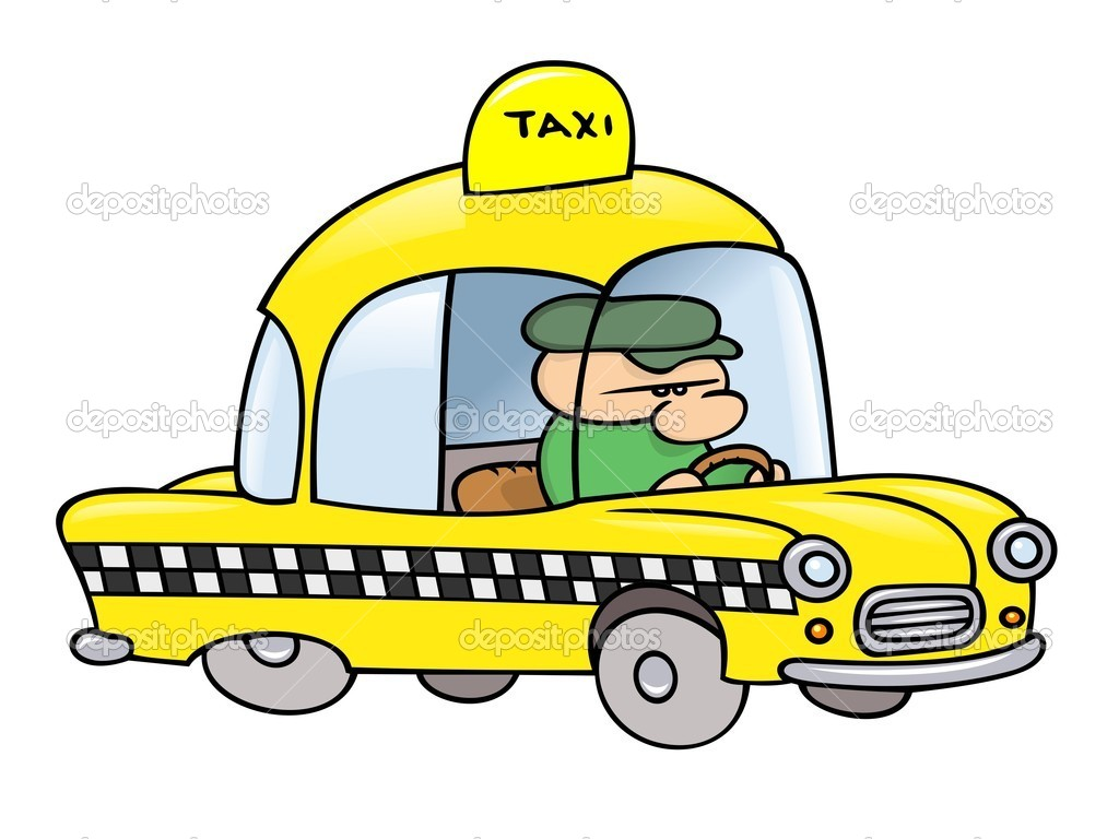 A toon taxi driver in his shiny yellow cab  Stock Vector #3063884