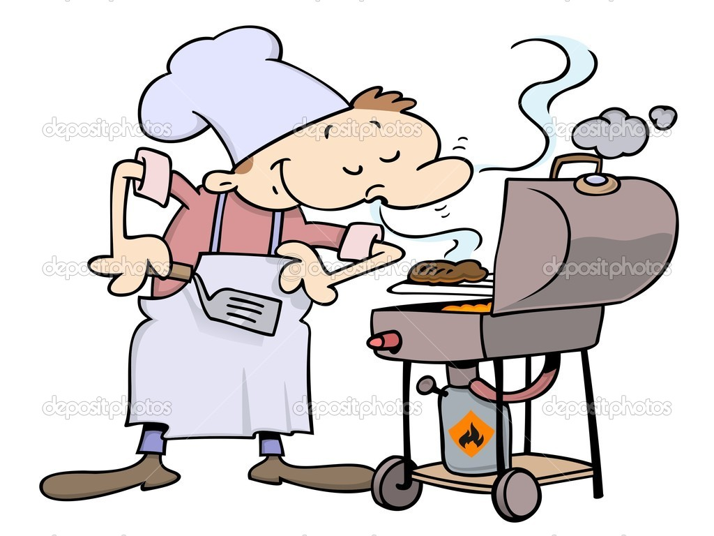 Pleased male chef smelling his burgers on a grill — Image vectorielle #3063901