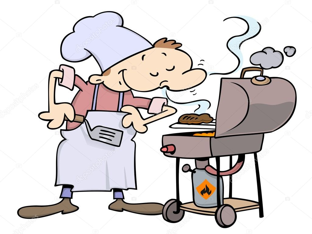 Pleased male chef smelling his burgers on a grill  Grafika wektorowa #3063901