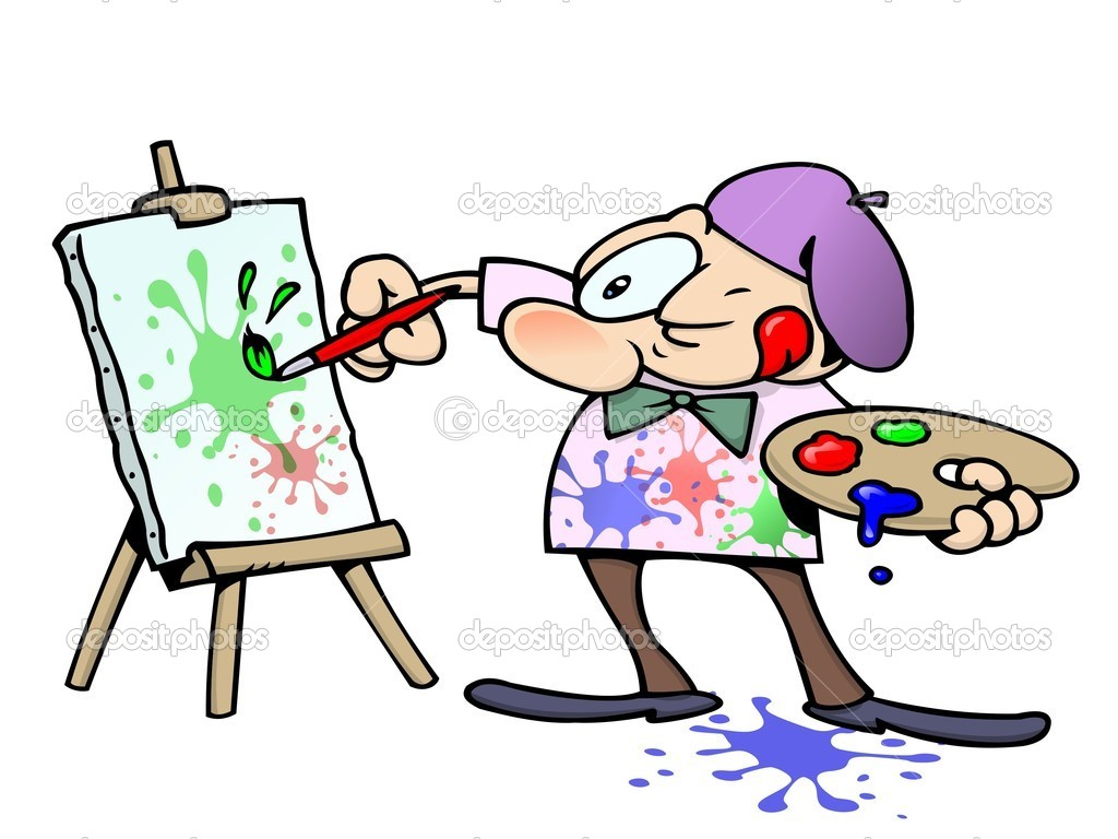 Focused male artist squinting while painting colorful splatters on a canvas — Stock Vector #3063919