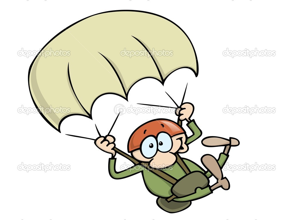 Excited man wearing a helmet, sky-diving with parachute. — Stock Vector #3063925