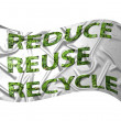 Recycling flag with the text reduse, reu — Stock Photo