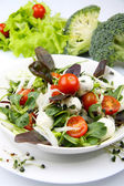 Fresh salad with mozzarella and tomatoes — Stock Photo