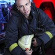 Portrait of firefighter - Stock Photo