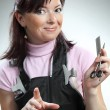 Stock Photo: Beautiful hairdresser with scissors