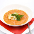 White bowl of tomato soup — Stock Photo