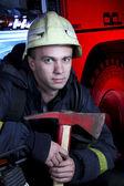 Portrait of firefighter — Stock Photo